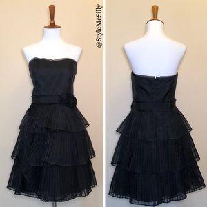 WHBM black silk strapless layered pleated dress